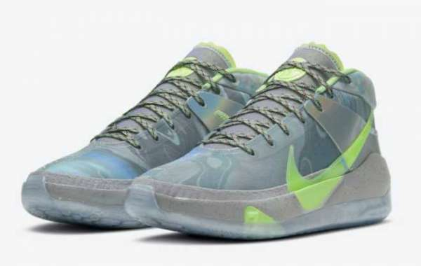 """Latest Nike KD 13 """"All-Star"""" Platinum Tint/Barely Volt For Sale CW3159-001"""